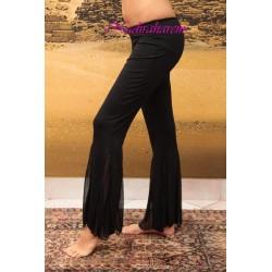 Pantalone inserti chiffon nero